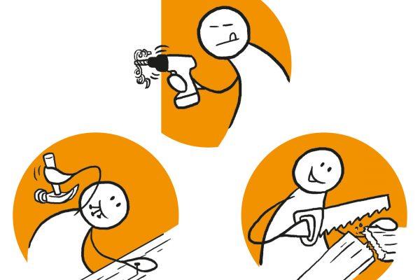 Tre figurer utfører ulike arbeidsoppgaver innen snekring. Grafikk.