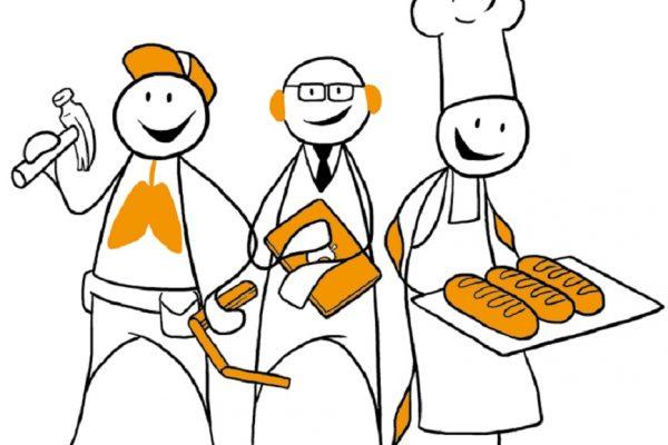 Tre figurer står ved siden av hverandre. En snekker, en lærer og en baker. Grafikk.
