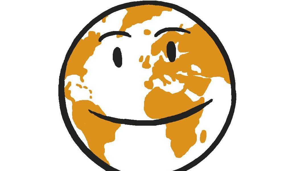 Planeten med øyne og munn. En figur som symboliserer levekår. Grafikk.