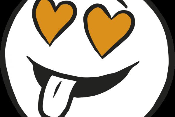Figur med hjerteøyne. Symboliserer seksualitet. Grafikk.