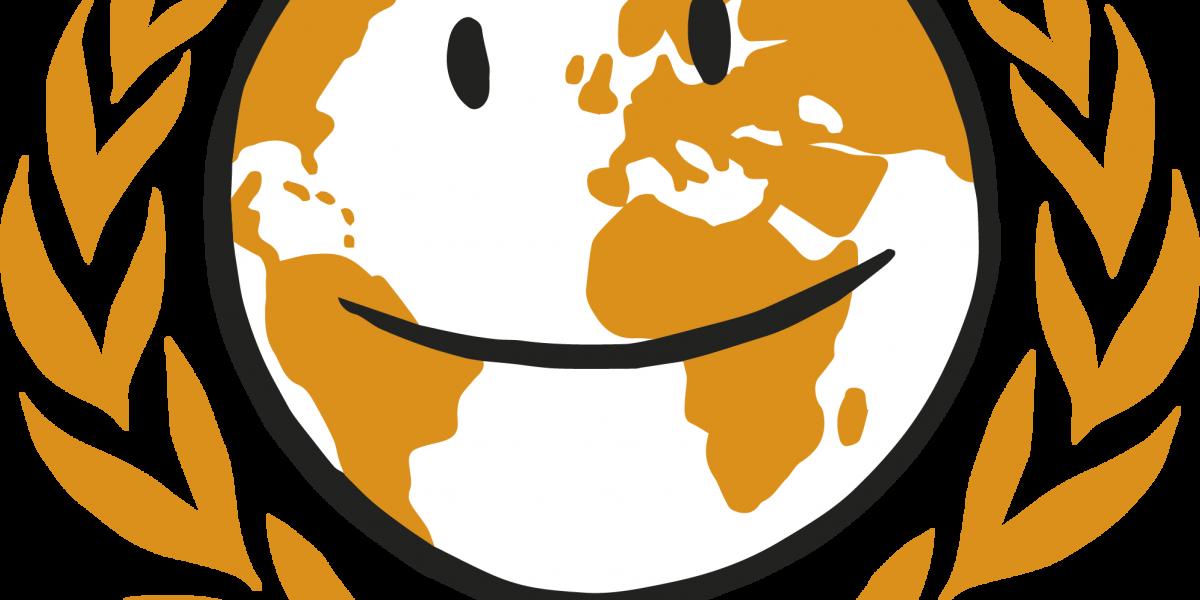 Globus med ansikt. Symboliserer internasjonalt arbeid. Grafikk.