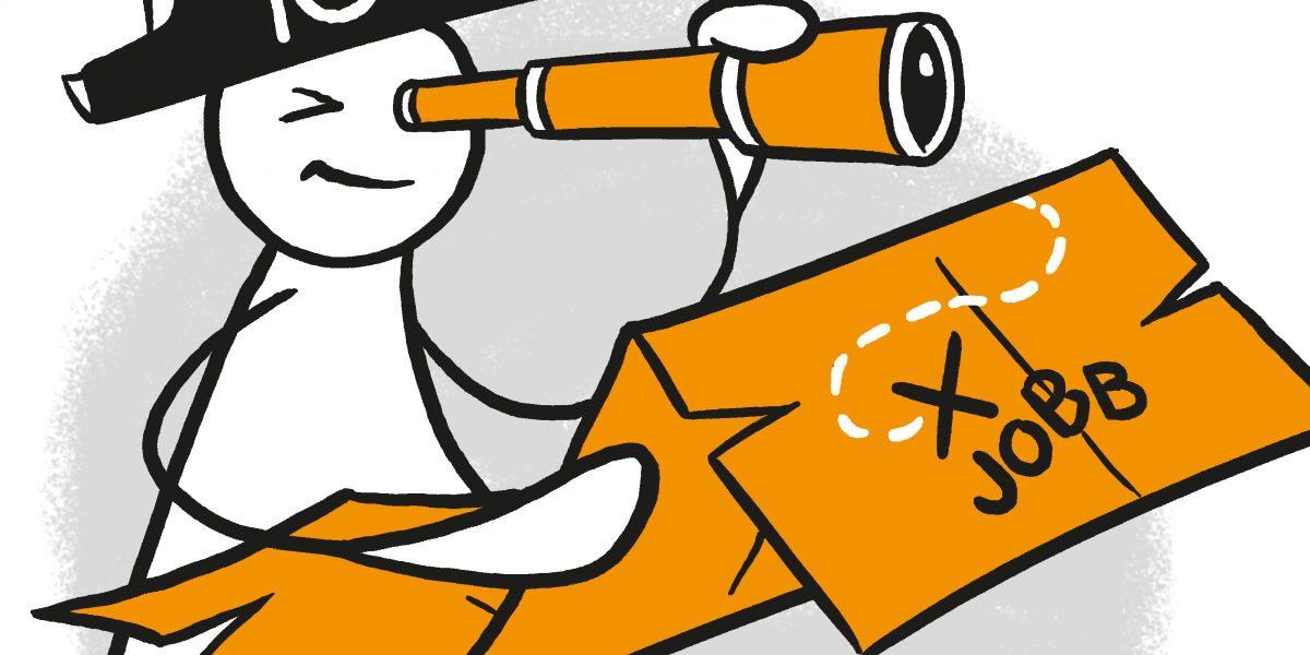 """En figur holder et skattekart som det står """"jobb"""" på, og speider i en kikkert. Grafikk."""