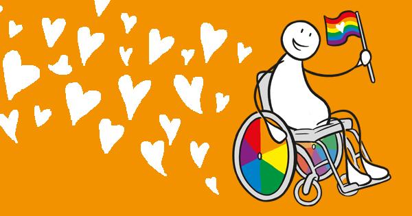 En person i rullestol, med regnbuefarget hjul og et flagg med regnbuefargene. Personen er omgitt av hjerter. Grafikk.