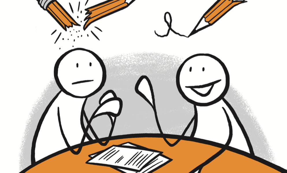 To figurer sitter og diskuterer rundt et bord. Over hodene deres er det to blyanter, den ene skriver og den andre er knekt i to. Grafikk.