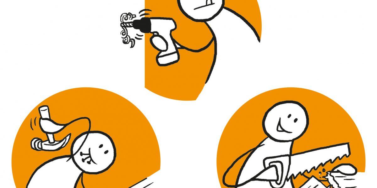 Tre figurer utfører ulike arbeidsoppgaver: En slår i en spiker, en driller og en sager. Grafikk.