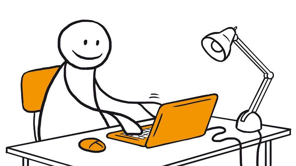 Figur sitter ved en skrivepult og skriver på en datamaskin. Grafikk.