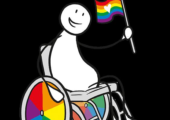 En figur i en rullestol, der hjulet har regnbuefarger. Figuren holder et regnbueflagg. Foto.
