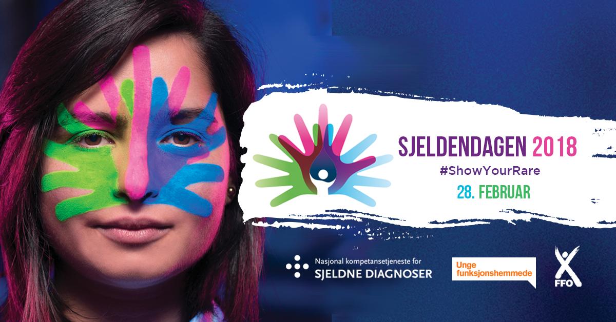 En plakat viser en kvinne med tre farger malt i ansiktet. Ved siden av henne står teksten: Sjeldendagen 2018. #ShowYourRare. 28. februar. Grafikk.