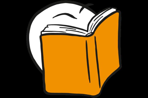 Figur leser i bok. Symboliserer utdanning. Grafikk.