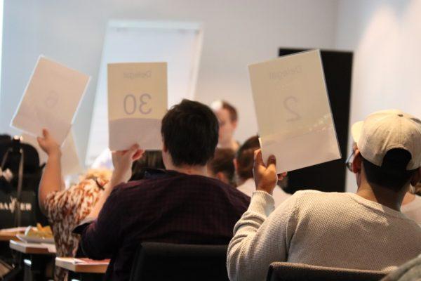 En gruppe mennesker holder opp stemmekort. Foto.