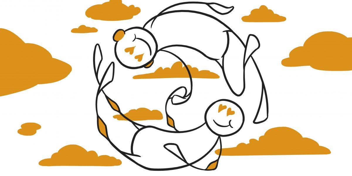 To figurer holder hender og ser hverandre inn i øyene. De har hjerteøyne og er oppe i himmelen, omgitt av skyer. Grafikk.