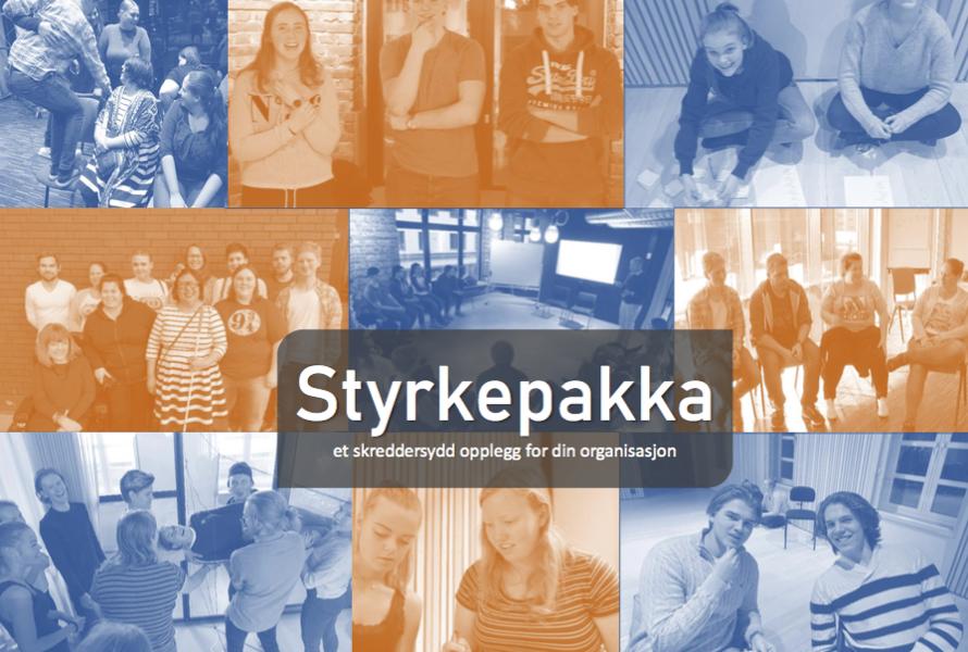 Ulike ungdommer smiler og deltar i gruppeaktiviteter. Collage av flere bilder, med teksten: Styrkepakka - et skreddrsydd opplegg for din organisasjon, påskrevet. Foto/grafikk.
