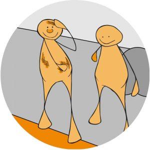 To figurer med ulike funksjonsnedsettelse står sammen. Grafikk.