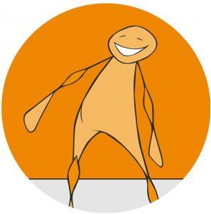 Figur som smiler. Grafikk.