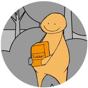 En figur holder en boks med sukker. Figuren symboliserer en person med diabetes. Grafikk.
