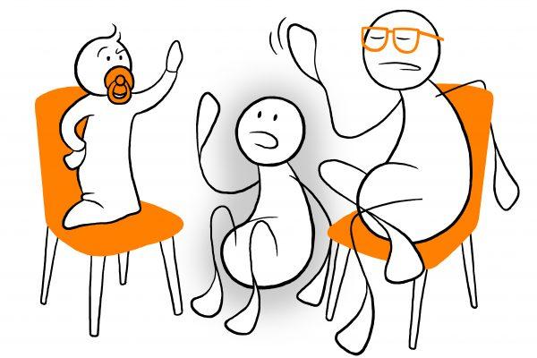 En ungdom sitter mellom to stoler. På stolene sitter et barn og en eldre person. Grafikk.