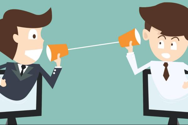 To figurer snakker med hverandre gjennom kopper med en tråd mellom. Grafikk.
