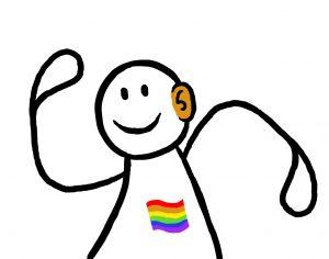 Figur med PRIDE-flagg på brystet og hørselshemming. Grafikk.
