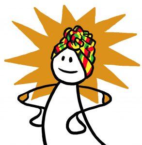 Figur med afrikansk hodeplagg. Grafikk.