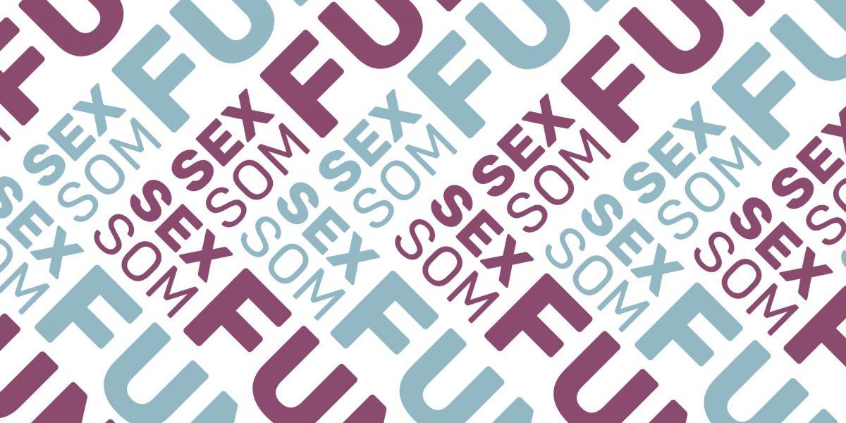 Logoen til Sex som funker mange ganger i et mønster. Grafikk.