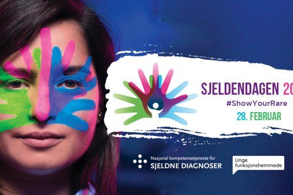 """Plakat for Sjeldendagen 2019. Kvinne med logo malt i ansiktet, og teksten """"28. februar 2019"""". I tillegg logoen til Nasjonal kompetansetjeneste for sjeldne diagnoser, FFO og Unge funksjonshemmede. Grafikk."""