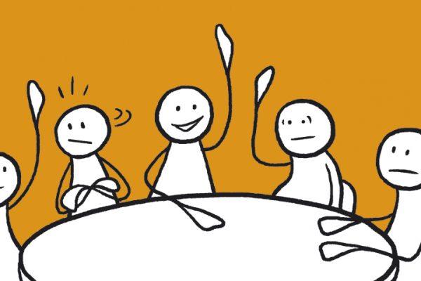 En gruppe figurer sitter rundt et bord og diskuterer. Grafikk.