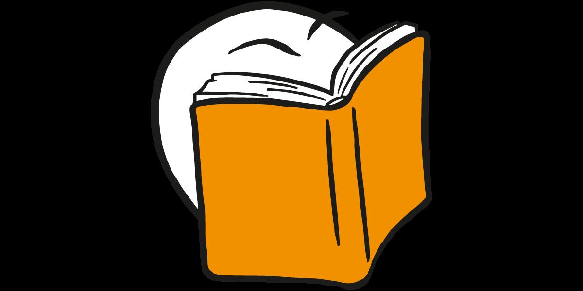 En figur har en bok foran ansiktet