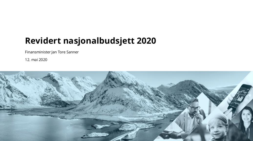 Skjermbilde fra regjeringens pressekonferanse om revidert nasjonalbudsjett 2020