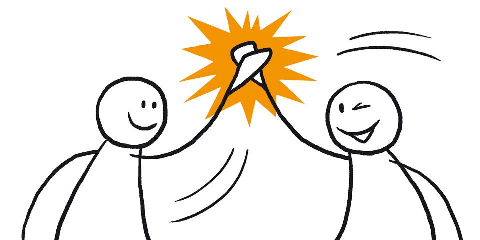 To figurer gir hverandre en high-five