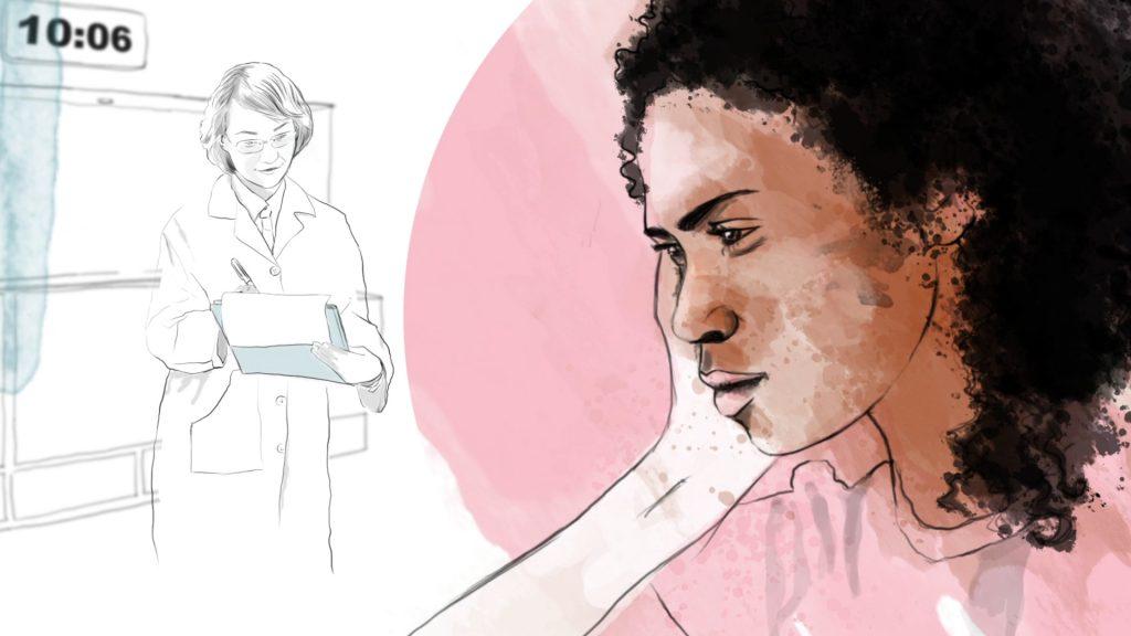 En ung kvinne på venterommet i sykehuset