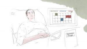 """En ung mann ligger i sykesengen. En kalender henger på veggen og på sengen står det """"operasjon i morgen""""."""