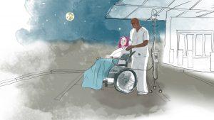 En sykepleier har trillet en kvinne ut for å se på stjernene