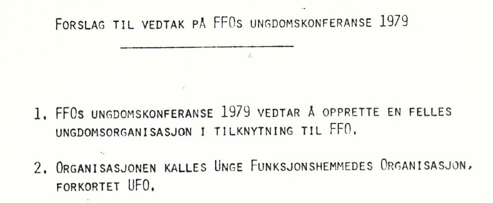 Forslag om vedtak ved FFOs Ungdomskonferanse i 1979