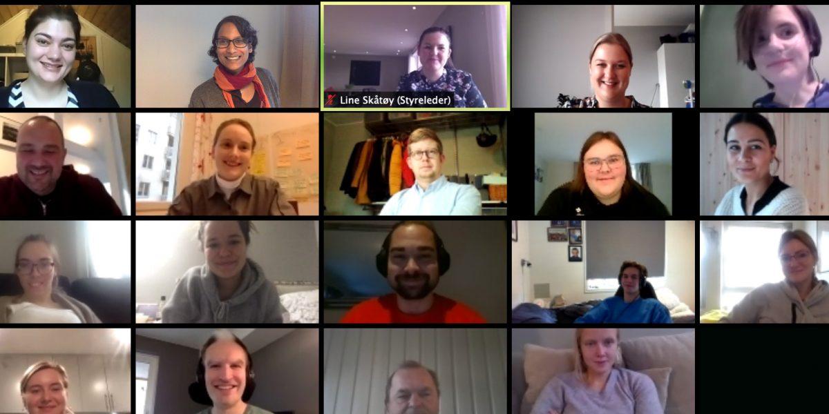 Skjermbilde som viser ruter med ulike deltagere på et digitalt møte