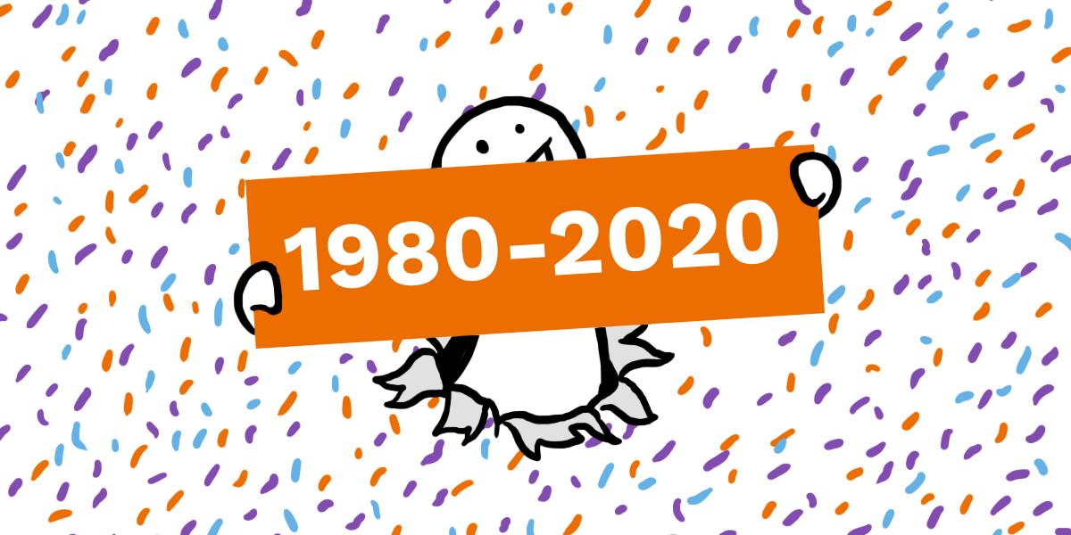 En figur holder opp et skilt hvor det står 1980-2020