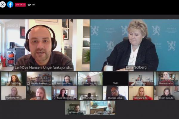 Deltagere fra ulike organisasjoner i regjeringens digitale møte om psykisk helse.