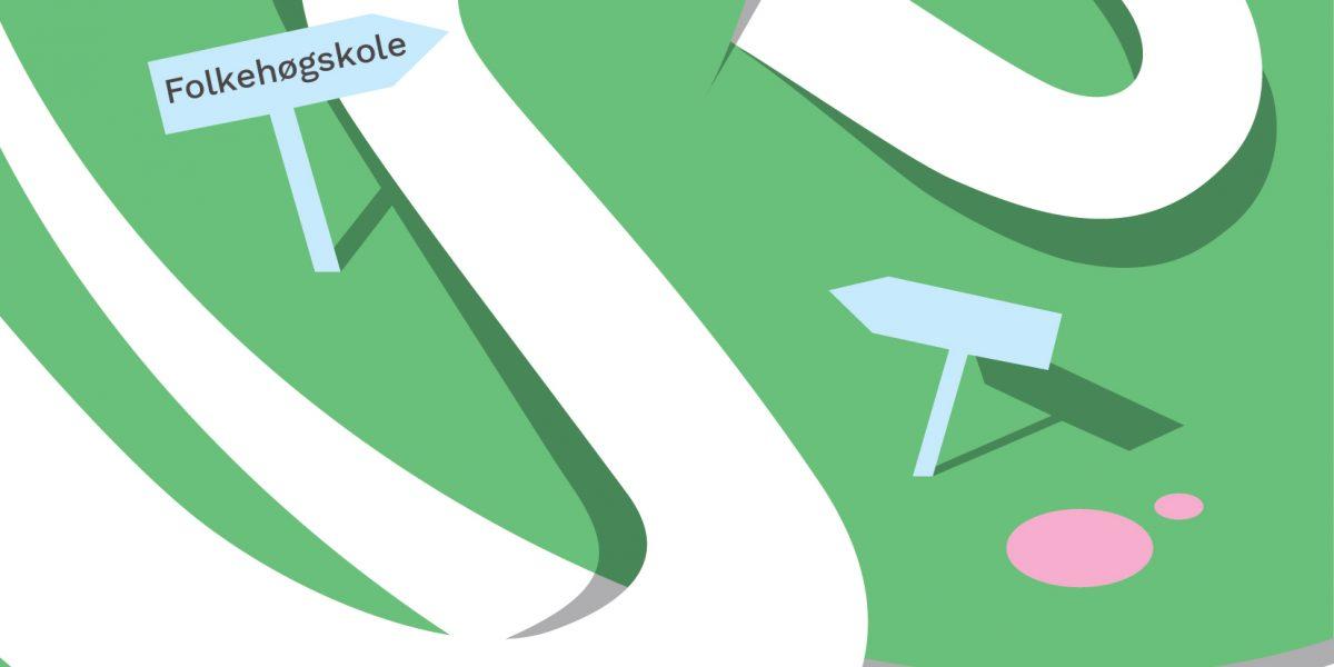 Piler på grønn bakgrunn med et skilt hvor det står Folkehøgskole