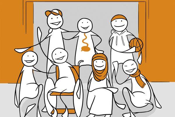 En gruppe elever med funksjonsnedsettelser foran en folkehøgskole